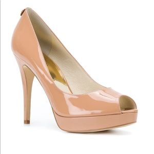 Michael Kors Nude Patent Leather Peep Toe Heels